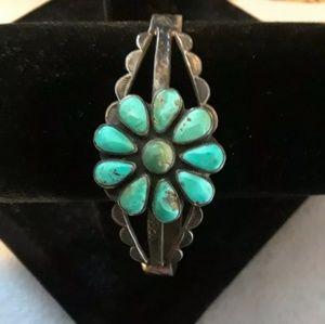 Sterling silver turquoise flower cuff bracelet
